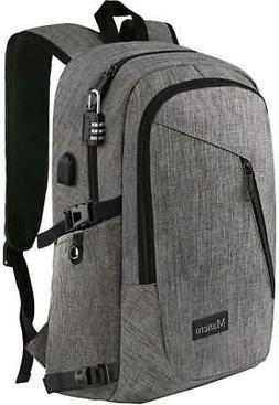 "Mancro 15.6""-17"" Waterproof Laptop Backpack with USB Chargin"