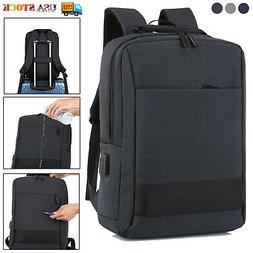 "15.6"" Laptop Backpack Waterproof USB Mens Business Travel Sc"