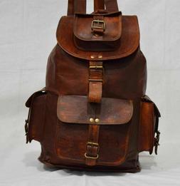 """16"""" Genuine Leather Vintage Laptop Backpack Rucksack Travel"""