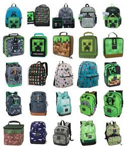 """Minecraft 17"""" Kids Character School Backpack OR 16"""" 5 PC Set"""