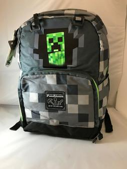 "MINECRAFT 17"" Kids Gray Block CREEPER Backpack w/ Laptop Sle"