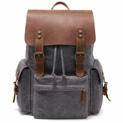 2019 New Model Laptop Leather Backpack 15.6 Inch Waxed Canva