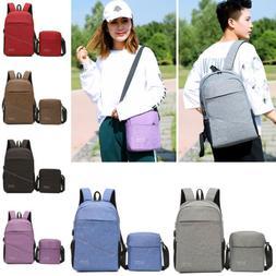2PCS Women's Backpack Shoulder Travel Bag Laptop Backpack Co