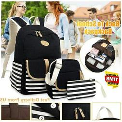 3PCS Canvas Women Backpack Girl Student Laptop Shoulder Scho