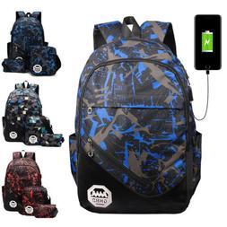 3PCS Men Women Backpack School Student Bookbag Travel Bag w/
