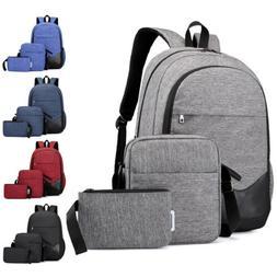 3PCS Men Women Boys Girls Backpack School Shoulder Bag Bookb