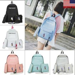 3pcs/Set Backpack Women Canvas Travel Bookbags School Bags f