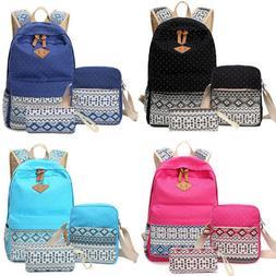 3pcs/Set Backpack Women Girl Canvas Travel Bookbag Shoulder