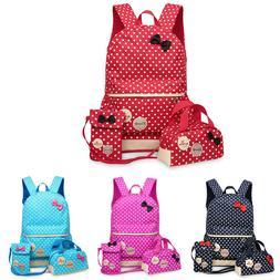 3pcs/set School Bags Girls Polka Dots School Backpack Pencil