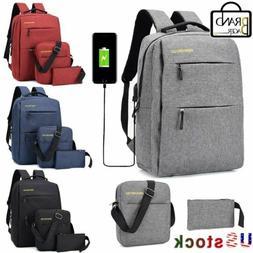 3PCS/Set Unisex Laptop Backpack Bookbag Travel School Bag Wi