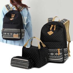 6d6289012a3f 3PCS Women School Bags Backpack Lunch Bo.