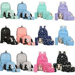 4pcs/Set Backpack Women Canvas Travel Bookbags School Bags f