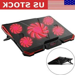 5 Fans Laptop Cooler Stand USB Cooling Pad Chill Mat 12''-17