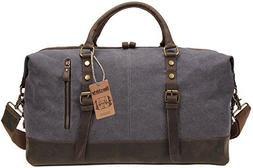 Berchirly Oversized Canvas Leather Trim Travel Tote Duffel S