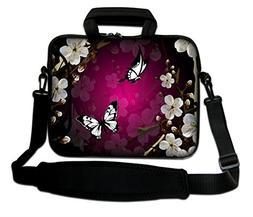 """Nice Butterfly 15"""" Laptop Shoulder Bag Case Sleeve + Pocket"""