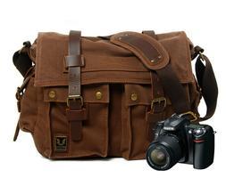 Canvas DSLR Messenger Camera Bag Shoulder Laptop Sleeve Phot