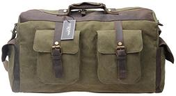 Iblue Oversized Leather Canvas Carry on Duffle Bag Large Tot