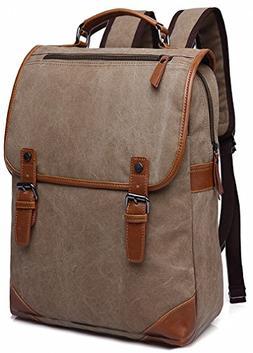 Kenox Khaki Canvas Vintage College Backpack School Bookbag L