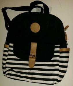 Leaper Thick Canvas Black White stripe School Backpack Lapto