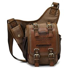 Mens Boys Vintage Canvas Shoulder Military Messenger Bag Sli
