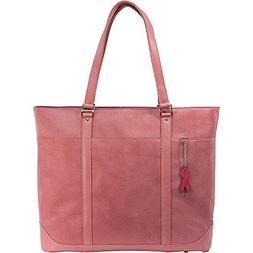 """MobileEdge Komen Tote Pink Faux-Suede Fits up to 17.3"""" lapto"""