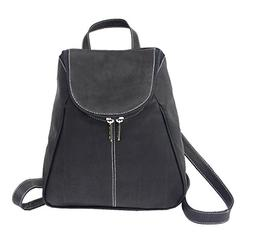 Piel Leather U-Zip Flap Backpack in Black