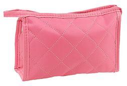 Rosallini Woman Pink Zipper Closure Small Pouch Cosmetic Cas