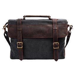 S-ZONE Vintage Canvas Genuine Leather Messenger Traveling Br