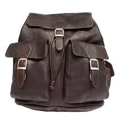 Piel Leather Adventurer Large Buckle Flap Backpack in Chocol