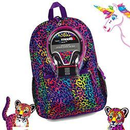 Animal Print Cheetah Leopard Canvas School Laptop Backpack B