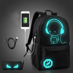 Anime Luminous Anti-Theft Laptop Backpack Shoulder School Ba