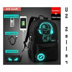 Anti-Theft Lock Backpack Schoolbag Luminous USB Charge Lapto