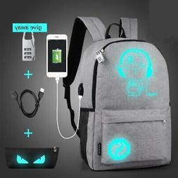 Anti-Theft Luminous Backpack with USB Charger Port Travel La
