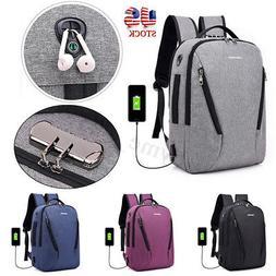 Anti-theft Men Women Laptop Backpack USB Charging Port Schoo