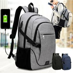 Anti-Theft Mens USB Charging Shoulder Backpack Laptop Notebo