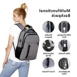 Anti-theft Men USB W/ Charger Port Backpack Laptop Notebook