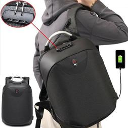 Anti-theft Mens USB with Charger Laptop Port Backpack Travel