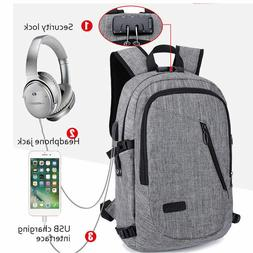 Anti-theft Mens USB with Charger Port Backpack Laptop Notebo