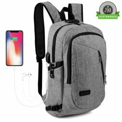 Backpack With USB Charging Port Anti-theft Mens Women Laptop