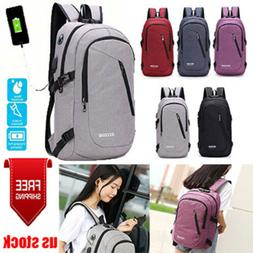 Anti-theft USB Charging Backpack Laptop Notebook Travel Scho