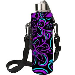 AUPET Water Bottle Carrier,Purple Flower 500ML Water Sport B