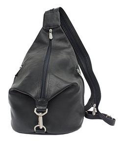 Piel Leather Fashion Avenue Three-Zip Hobo Sling in Black