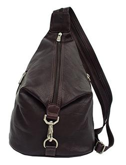 Piel Leather Fashion Avenue Three-Zip Hobo Sling in Chocolat