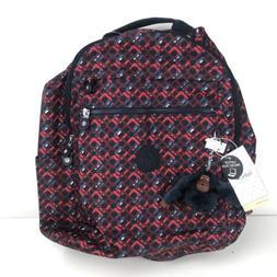 Kipling Backpack Medium Micah Red White Blue Printed Laptop
