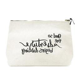 Canvas Makeup Bag with Quote and Brass Zip, Extra Large