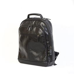 "Boconi Becker City Leather 17"" Laptop Backpack in Black"