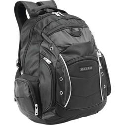 "PADDED LAPTOP BACKPACK 19"" Black Business Bag Computer Noteb"