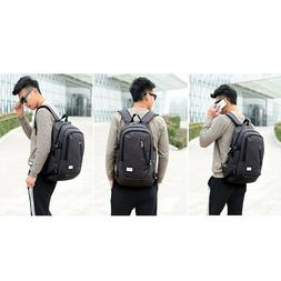 Black Men Women Anti-Theft Travel Backpack USB Port Shoulder