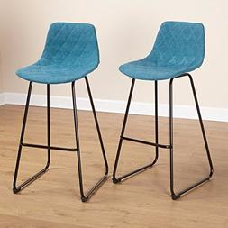 Blue Low Back Counter Stool  Made From Wood and Metal with B