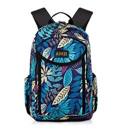 JEMIA Blue Leaves Style Backpack with Multi Compartments and